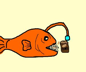 Anglerfish eating Beans