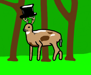 deer with a top hat