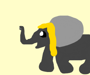 Adorable elephant with blonde hair