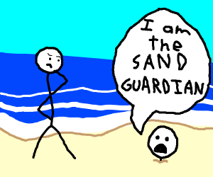 man in the sand saying he's the sand guardian