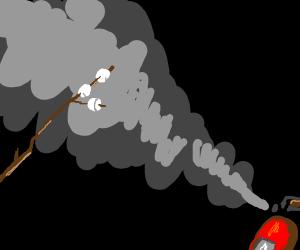 Marshmallow Stick using Fire Extinguisher
