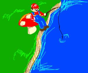 Mario fishing on a mushroom