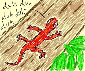 mentally retarded salamander with log, leaves