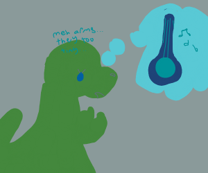T-Rex crying because he can't play guitar