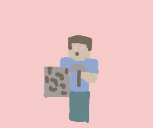 Steve be mining iron