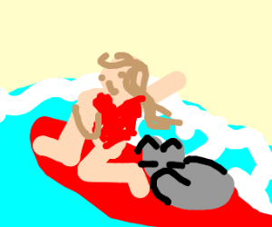 girl surfing with her cat