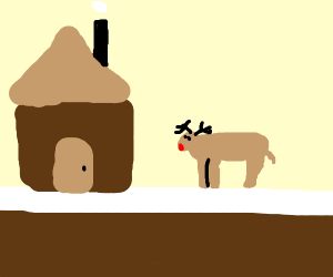 Rudolph The Reindeer Outside A House