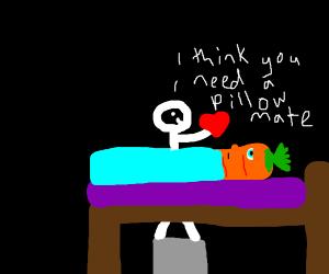 stickfigure gives carrot a heart-pillow