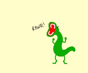 Angry lizard dinosaur yells - Rawr!