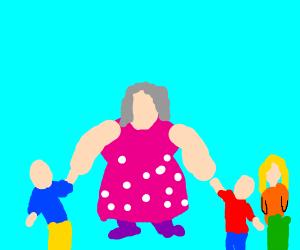 Grandma and three kids