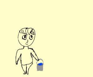 Someone carrying a bucket of water