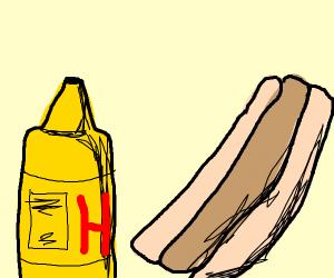 mustard and a hotdog