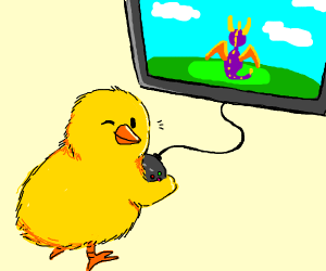 Chick winks while playing video game