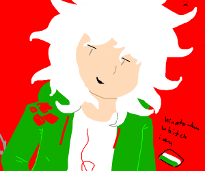 Komaeda must be fed but his hands are tied up