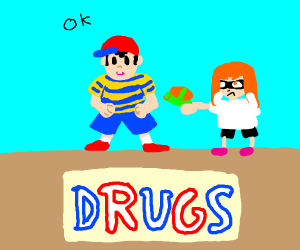 Ness (EarthBound) responds to Inkling Girl
