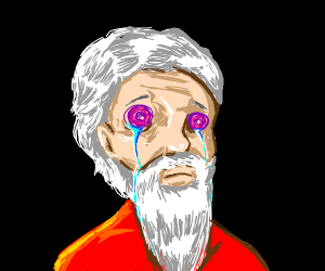 Man w/ white beard purple swirls for eyes cry