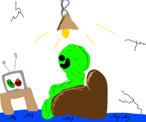 Green thing watching television