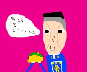 Okuyasu eating a taco