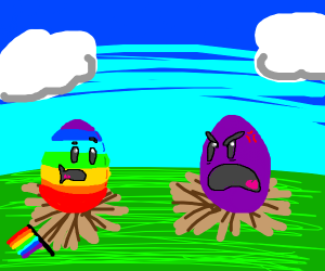 purple egg is angery at gay egg