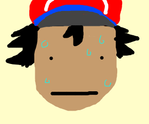 Ash Ketchum with a sweating poker face