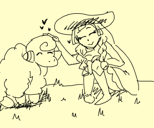 mareep gets petted by pretty lady