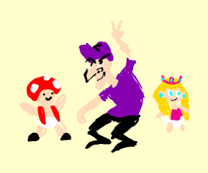Toad with kid Waluigi & baby Peach