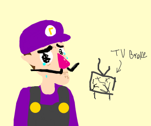 Waluigi crying in front of a broken TV