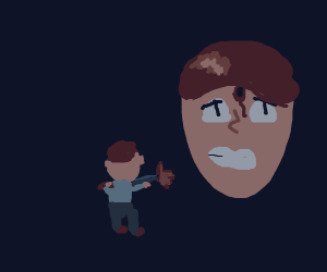 Guy shoots giant face