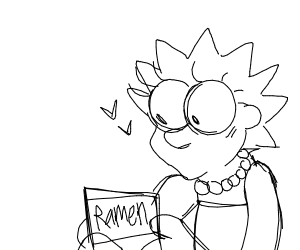 Lisa Simpson with no mouth has ramen