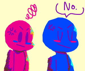 blue man disagrees with pink man