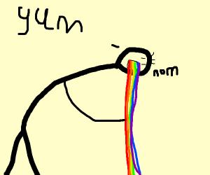 Man eats rainbow