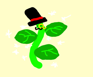 Sparkles and a Vine Branch wearing a Top Hat