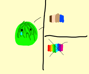 Lettuce is sad he is colorblind