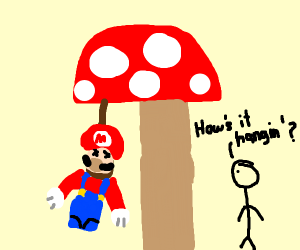 mario hung underneath a mushroom