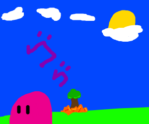 Pink Slimy thing roasting a tree