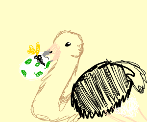 Ostrich eats green spotted egg