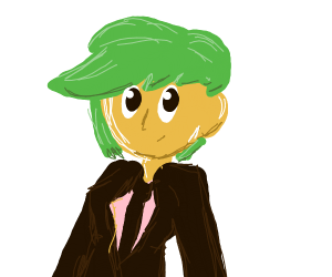 Green haired lady in a suit