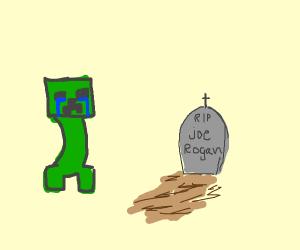 creeper crying over joe rogan's grave