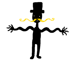 wiggly moustache man