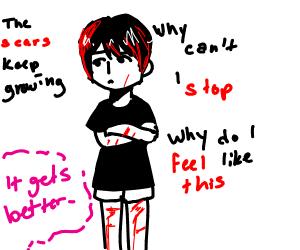 edgy emo boy does a self harm