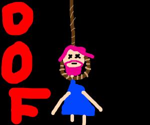 bearded woman in bikini being hung
