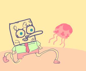 wery weird-looking spongebob chases jellyfish