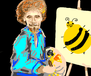 Bob Ross paints obese bee