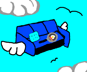 Flying blue couch with a frying pan