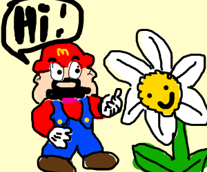 mario saying hi to a flower