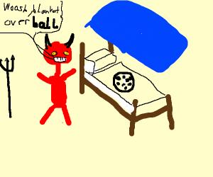 Devil tucks soccer ball in bed