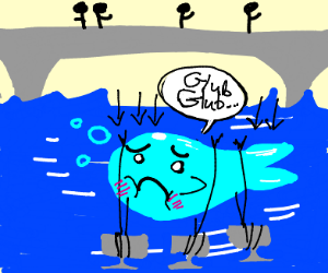 sad whale is sinking under bridge