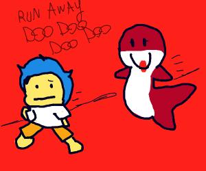 boy running away from shark mom