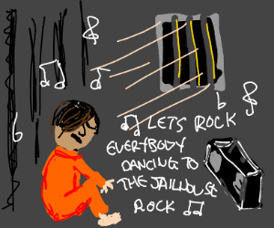 emo man in jail listens to jail house rock