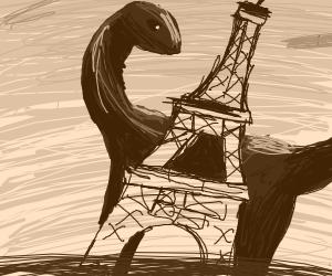 Dinosaur knocks over the eiffel tower